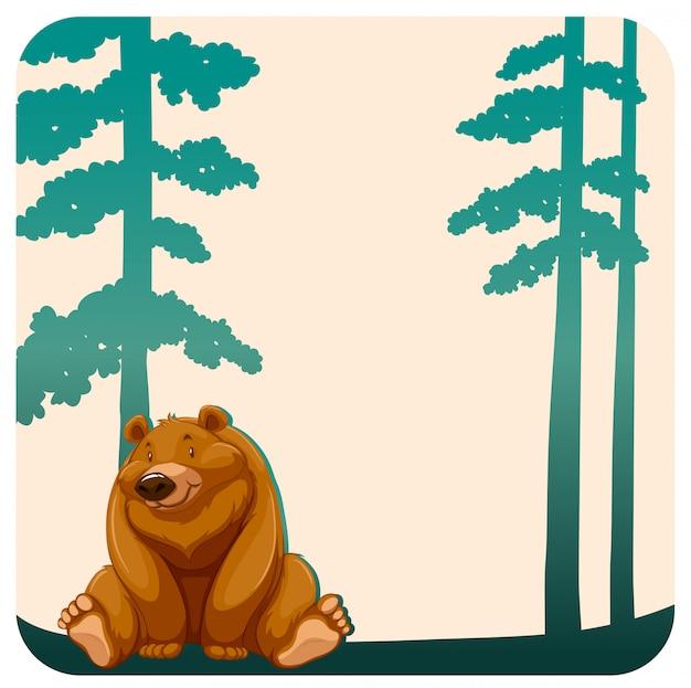 Urso e árvores