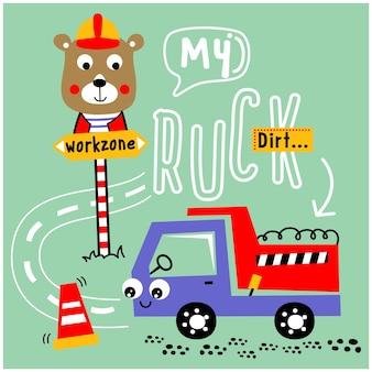 Urso e caminhão engraçado animal cartoon