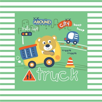 Urso e caminhão engraçado dos desenhos animados de animais, ilustração vetorial
