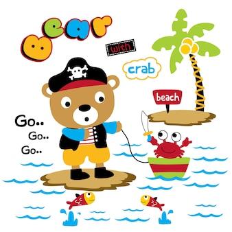 Urso e caranguejo engraçado animal dos desenhos animados, ilustração vetorial