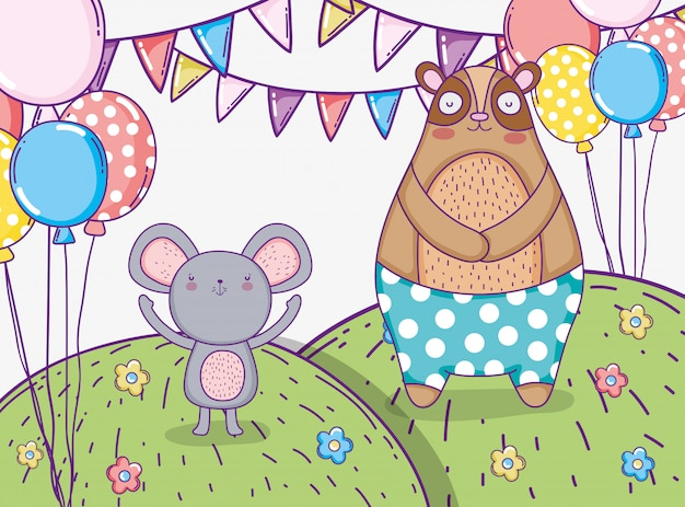 Urso e coala de aniversário com banner de festa e balões