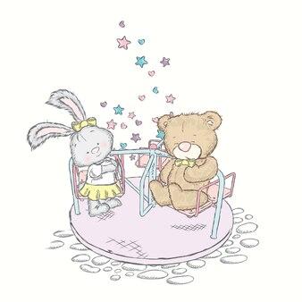Urso e coelho andam no carrossel.