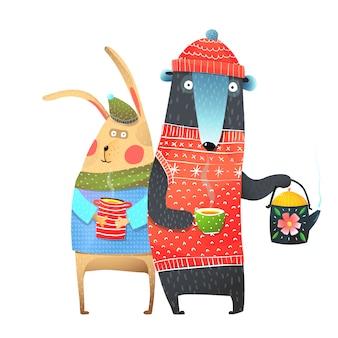 Urso e coelho com uma xícara de chá