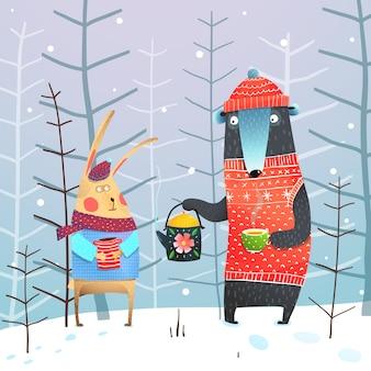 Urso e coelho em beber chá na floresta