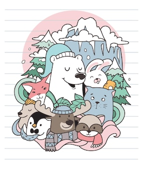Urso e doodle de inverno