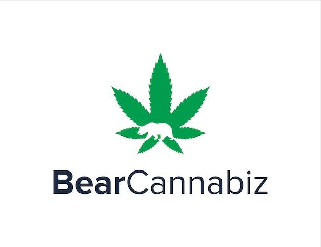 Urso e folha de cannabiz simples, elegante, criativo, geométrico, moderno, design de logotipo