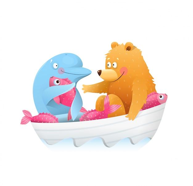 Urso e golfinho animais amigos crianças dos desenhos animados