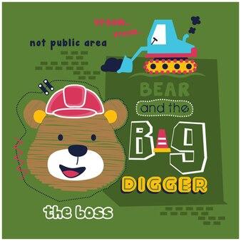 Urso e grande escavador desenho animado animal