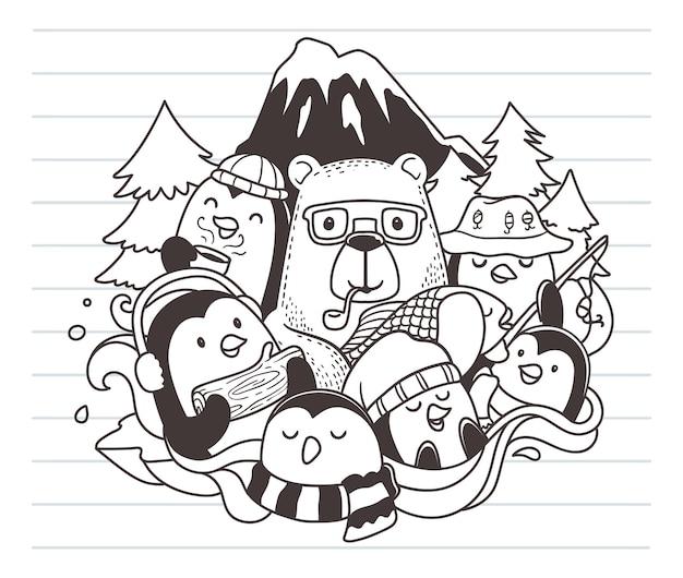 Urso e pinguins doodle arte