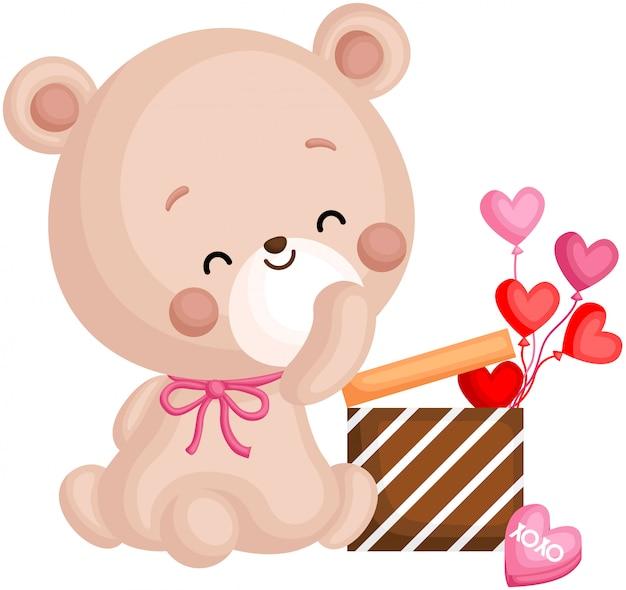 Urso e presente de dia dos namorados