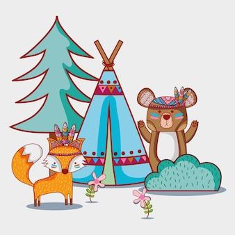 Urso e raposa tribal animal com acampamento