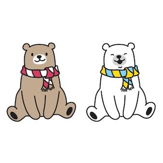 Urso e urso polar sentado