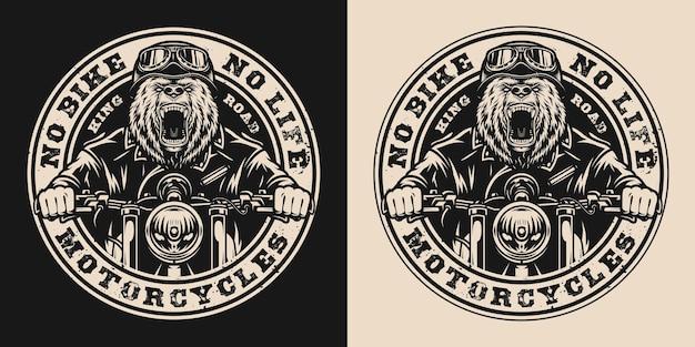 Urso emblema redondo vintage de motociclista com motociclista pardo furioso andando de moto em estilo monocromático