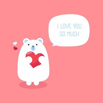 Urso engraçado bonito com coração dia dos namorados cartão.