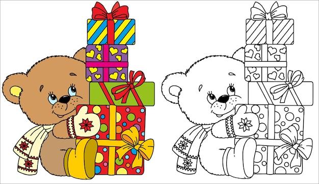 Urso engraçado de vetor vestido com um chapéu de malha, cachecol e luvas quentes, sentado em frente a caixas de presente