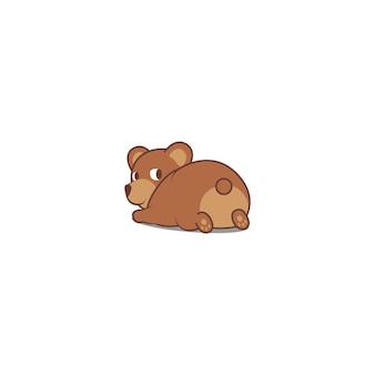 Urso engraçado deitado e olhando para trás