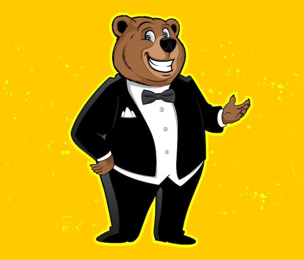 Urso engraçado do smoking dos desenhos animados da mascote. ilustração vetorial