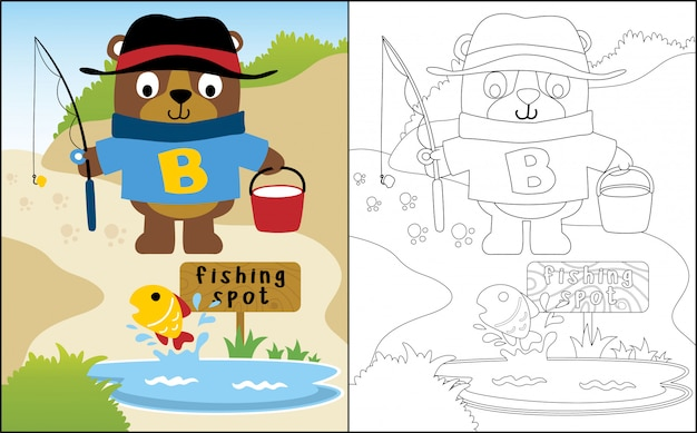 Urso engraçado dos desenhos animados de pesca