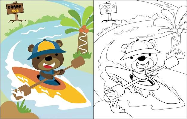Urso engraçado dos desenhos animados de vetor na canoa