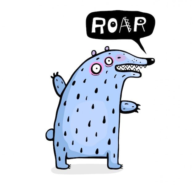 Urso engraçado para crianças falando rugido