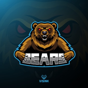 Urso esporte mascote design de logotipo
