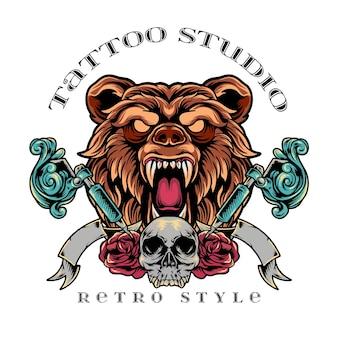 Urso estúdio de tatuagem estilo retro