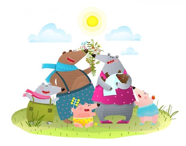 Urso família pai mãe filhos e bebês na natureza