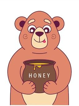 Urso faminto segura um pote de mel e lambe. ilustração vetorial de personagem