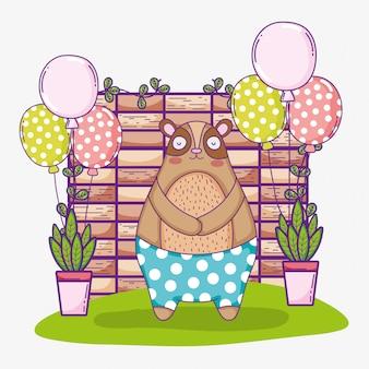 Urso feliz aniversário animal bonito com balões