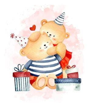 Urso feliz aniversário aquarela