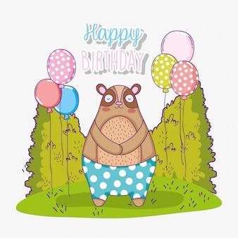 Urso feliz aniversário festa com balões
