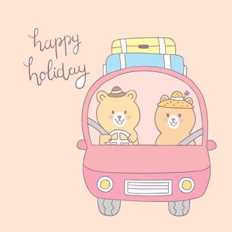 Urso feliz bonito do amante do feriado dos desenhos animados que conduz o vetor do carro.