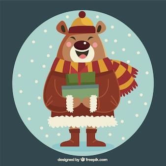 Urso feliz com acessórios e presentes de inverno