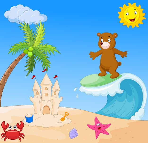 Urso feliz dos desenhos animados surfando