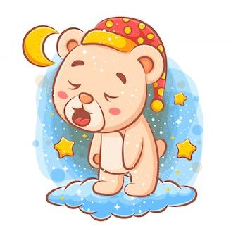 Urso fofinho dormindo na nuvem