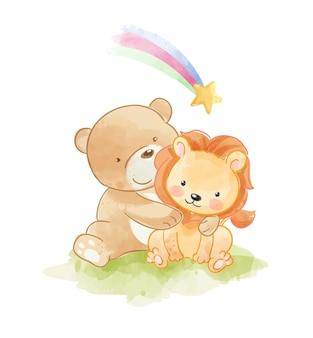 Urso fofo abraçando o amigo leão e estrela do arco-íris