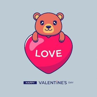 Urso fofo abraçando um balão do amor