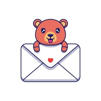 Urso fofo abraçando uma grande carta