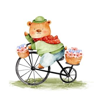 Urso fofo aquarela andando de bicicleta