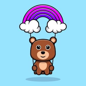 Urso fofo brincando no personagem de desenho animado do céu
