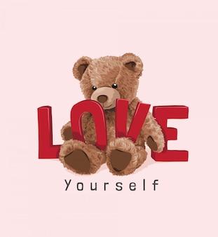 Urso fofo brinquedo com ilustração de slogan de amor vermelho