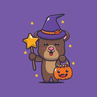 Urso fofo bruxa com varinha mágica carregando abóbora de halloween ilustração fofa dos desenhos animados de halloween