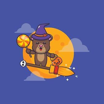 Urso fofo bruxa voar com vassoura na noite de halloween ilustração fofa dos desenhos animados de halloween