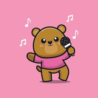 Urso fofo cantando ilustração de desenho animado