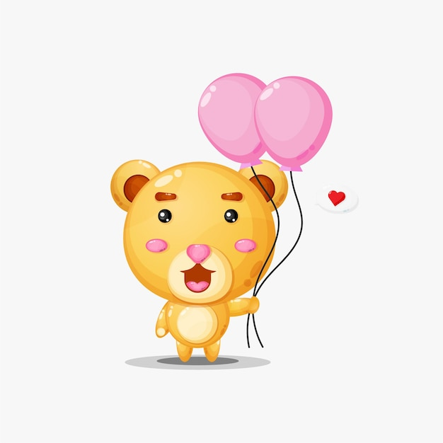 Urso fofo carregando balões com coração em discurso de bolha