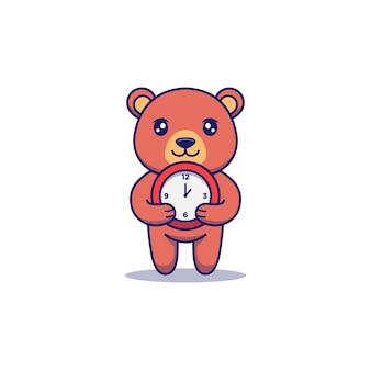 Urso fofo carregando relógio vermelho