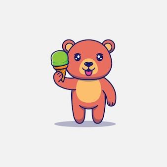 Urso fofo carregando sorvete