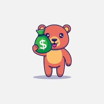 Urso fofo carregando uma bolsa de dinheiro