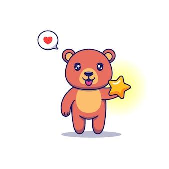 Urso fofo carregando uma estrela brilhante