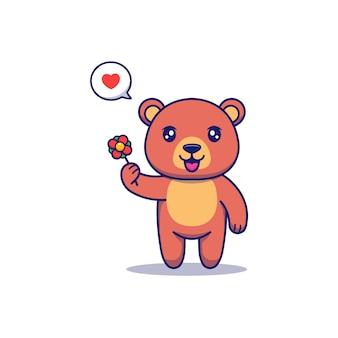 Urso fofo carregando uma flor vermelha